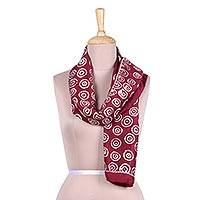 Batik silk scarf, 'Maroon Fantasy' - Batik Silk Scarf in Maroon from India
