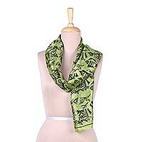 Silk scarf, 'World of Fish in Peridot' - Fish Motif Silk Scarf in Peridot from India