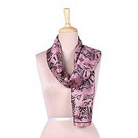 Silk scarf, 'World of Fish in Mauve' - Fish Motif Silk Scarf in Maroon from India