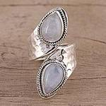 Rainbow Moonstone and Sterling Silver Wrap Ring from India, 'Eternal Wonder'