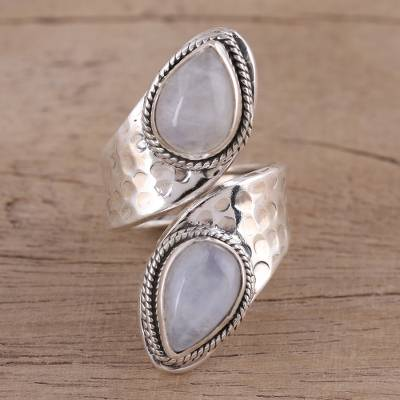 Rainbow Moonstone and Sterling Silver Wrap Ring from India