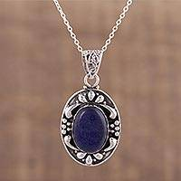 Lapis lazuli pendant necklace, 'Royal Serenity' - Lapis Lazuli and Sterling Silver Pendant Necklace from India