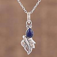 Lapis lazuli pendant necklace, 'Mystical Leaf' - Lapis Lazuli and Sterling Silver Pendant Necklace from India