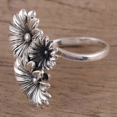 silver stud necklace boutique - Hand Crafted 925 Sterling Silver Daisy Wrap Ring