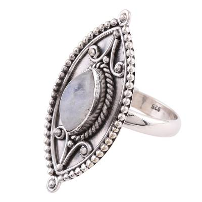 Sterling Silver Marquise Rainbow Moonstone Cocktail Ring