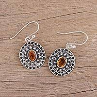 Citrine dangle earrings, 'Jaipur Sunset' - Citrine and Sterling Silver Dangle Earrings from India