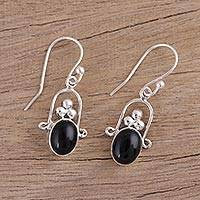 Onyx dangle earrings. 'Midnight Ecstasy' - 925 Sterling Silver Black Onyx Dangle Earrings from India