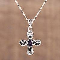 Iolite pendant necklace, 'Invocation' - Iolite and Sterling Silver Cross Pendant Necklace from India