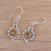 Citrine dangle earrings, 'Golden Lambent' - Citrine and Sterling Silver Dangle Earrings from India