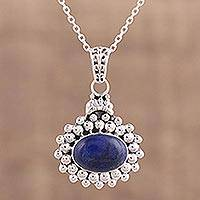Lapis lazuli pendant necklace, 'Jewel of Jaipur' - Lapis Lazuli and Sterling Silver Pendant Necklace from India