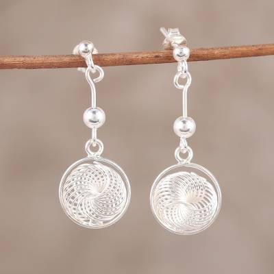 Novica Sterling silver dangle earrings, Shimmering Dimensions
