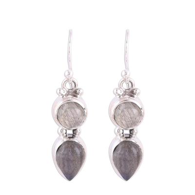 Labradorite dangle earrings, 'Dusky Allure' - Handcrafted Labradorite Dangle Earrings from India