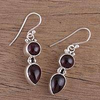 Garnet dangle earrings, 'Scarlet Eternity'