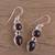 Garnet dangle earrings, 'Scarlet Eternity' - Handmade Garnet Dangle Earrings from India (image 2) thumbail