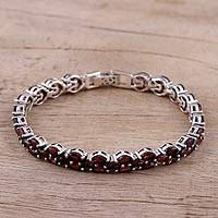 Garnet link bracelet, 'Scarlet Majesty' - Handmade Garnet and Sterling Silver Link Bracelet from India