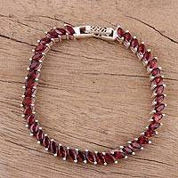 Garnet link bracelet, 'Eternity Scarlet' - Handmade Garnet and Sterling Silver Link Bracelet from India