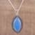 Chalcedony pendant necklace, 'Pool of Tranquility' - Indian Blue Chalcedony and Sterling Silver Pendant Necklace (image 2) thumbail