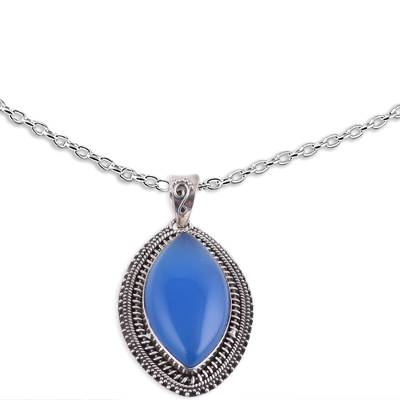 Chalcedony pendant necklace, 'Pool of Tranquility' - Indian Blue Chalcedony and Sterling Silver Pendant Necklace