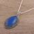Chalcedony pendant necklace, 'Pool of Tranquility' - Indian Blue Chalcedony and Sterling Silver Pendant Necklace (image 2b) thumbail