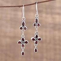 Garnet dangle earrings, 'Rouge Allure' - Garnet and Sterling Silver Dangle Earrings from India