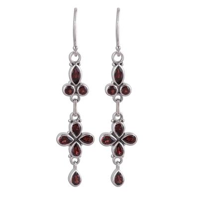Garnet dangle earrings, 'Rouge Allure' - Garnet and Sterling Silver Dangle Earrings from India