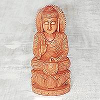 Wood statuette, 'Buddha Blessings' - Hand Carved Kadam Wood Meditating Buddha Statuette
