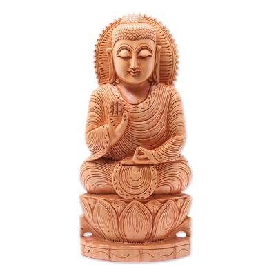 Wood statuette, 'Benevolent Buddha' - Hand Carved Kadam Wood Meditating Buddha Statuette