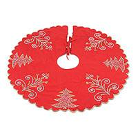 Cotton tree skirt, 'Christmas Celebrations' - Embroidered Cotton Tree Skirt in Poppy from India
