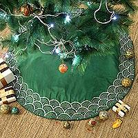 Cotton blend tree skirt, 'Christmas Glamor' - Embroidered Cotton Blend Tree Skirt in Emerald from India