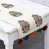 Cotton table runner, 'Flowery Elegance' - Cotton Floral Embroidered Table Runner with Tassels