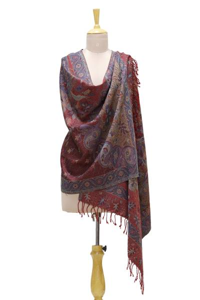 Viscose blend shawl, 'Paisley & Floral Grandeur' - Viscose Blend Floral and Paisley Shawl from India