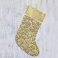 Beaded Christmas stocking, 'Shimmering Christmas' - Artisan Handmade Glittering Gold Sequin Christmas Stocking