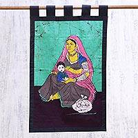 Cotton batik wall hanging, 'Cradled in Love' - Hand Crafted Cotton Batik of Love Between Mother and Child