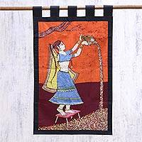 Cotton batik wall hanging, 'Rural Chores' - Batik Cotton Wall Hanging of Agricultural Woman from India