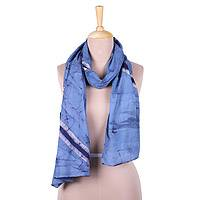 Cotton batik scarf, 'Graceful Splits' - Blue and White Striped Crackle Batik 100% Cotton Scarf