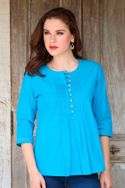Cotton tunic, Elegant Cyan