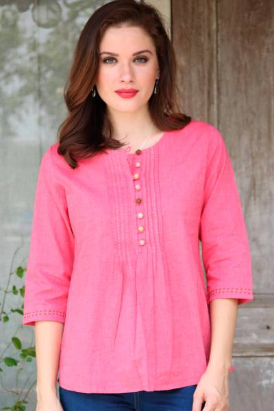 Cotton tunic, 'Elegant Rose' - Rose Pink 100% Cotton Embroidered Front Button Tunic