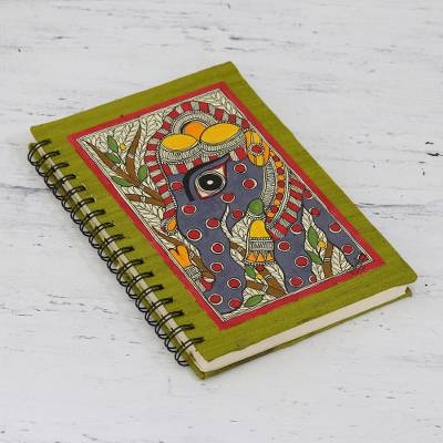 Handmade paper journal, 'Exuberant Elephant' - Hand Crafted Madhubani Style Painted Journal