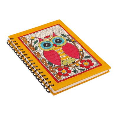 Handmade paper journal, 'Wise Thoughts' - Hand Made Paper Journal with Owl Madhubani Painting Cover