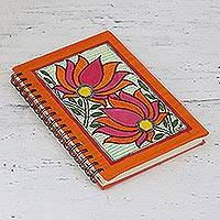 Handmade paper journal, 'Blooming Lotus' - Blooming Lotus Handmade Paper Journal from India