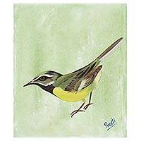 'Bird in the Forest' - Signed Painting of a Sparrow in Green from India