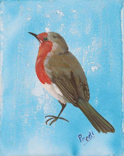 'Morning Bird' - Signed Painting of a Sparrow in Blue from India