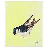 'Joyful Bird' - Signed Painting of a Sparrow in Yellow from India