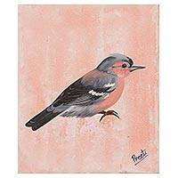 'Wintry Evening' - Signed Painting of a Sparrow in Pink from India