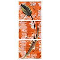 'Dancing Tulip' (triptych) - Signed Triptych Painting of a Tulip Flower from India