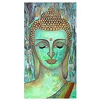 'Buddha in Bliss' - Expressionist Painting of Buddha from India