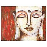'Salvation' - Signed Expressionist Buddha Painting from India