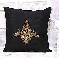Embroidered cushion cover, 'Majestic Kashmiri in Black' - Hand Embroidered Black Floral Cushion Cover from India