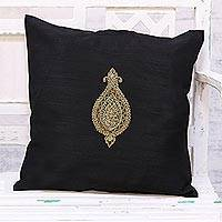 Embroidered cushion cover, 'Golden Beauty in Black' - Hand Embroidered Black Cushion Cover from India