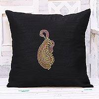 Embroidered cushion cover, 'Paisley Perfection in Black' - Hand Embroidered Black Paisley Cushion Cover from India